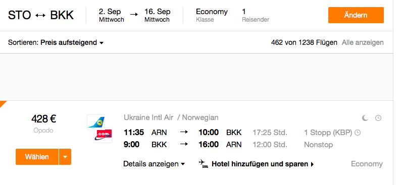 billiga flyg bangkok stockholm