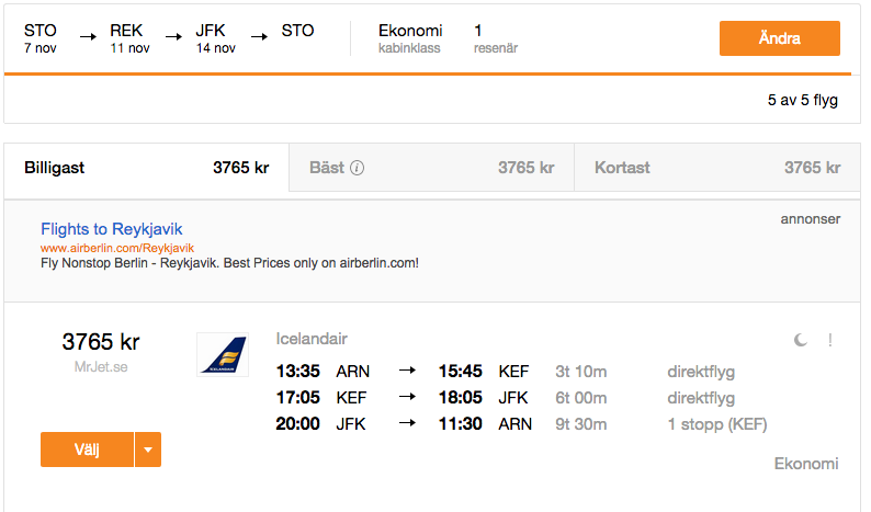 billiga flyg till island