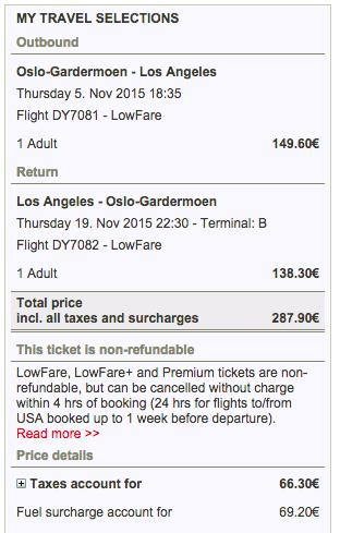 flyg till LA