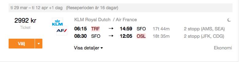flyg till san francisco