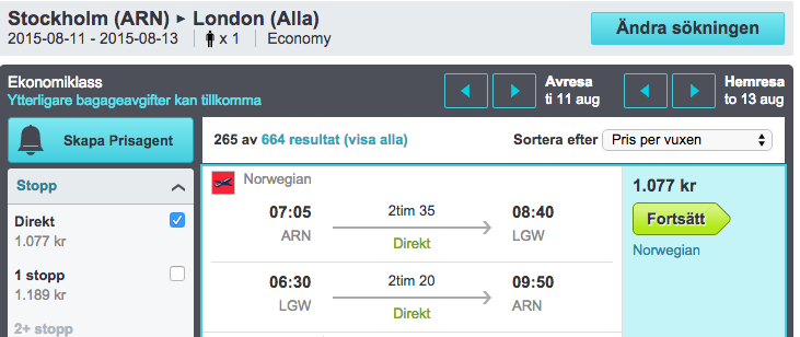 flyg till london