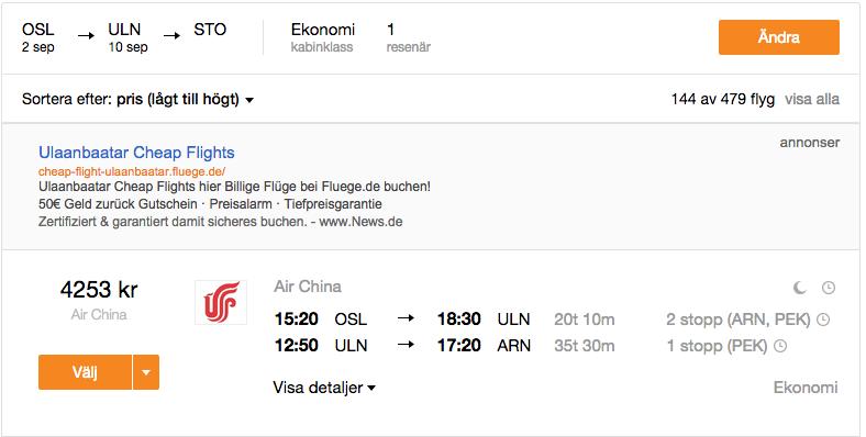 flygbiljetter till stockholm
