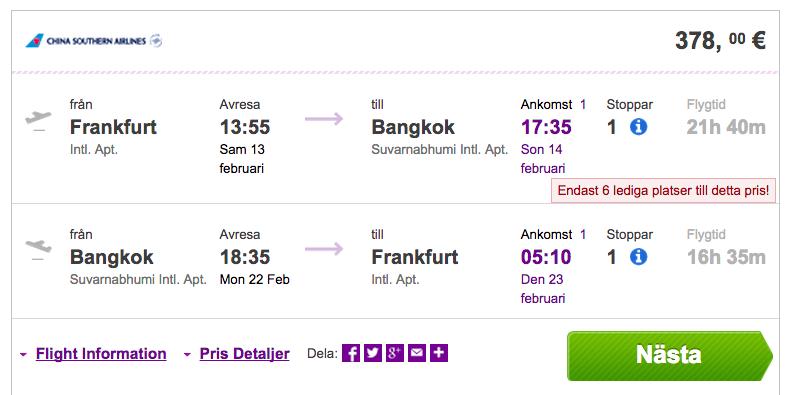 billiga flyg till bangkok i december