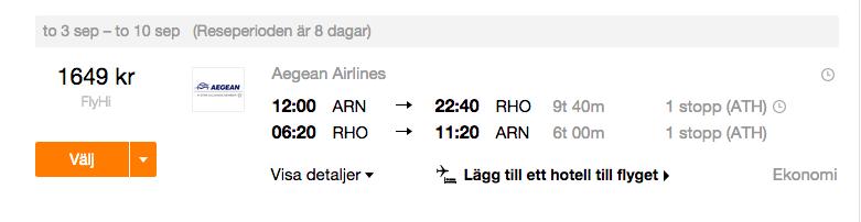 flyg från rhodos till stockholm