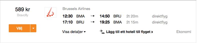 billiga flyg bryssel