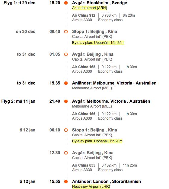 flyg till australien