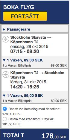 billiga flyg köpenhamn