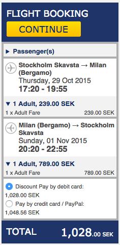 billiga flyg till milano