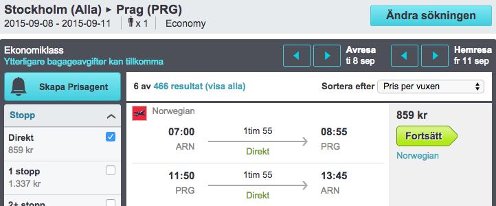 billiga flyg till prag