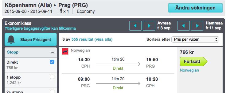 flyg köpenhamn prag