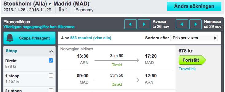 flyg stockholm madrid