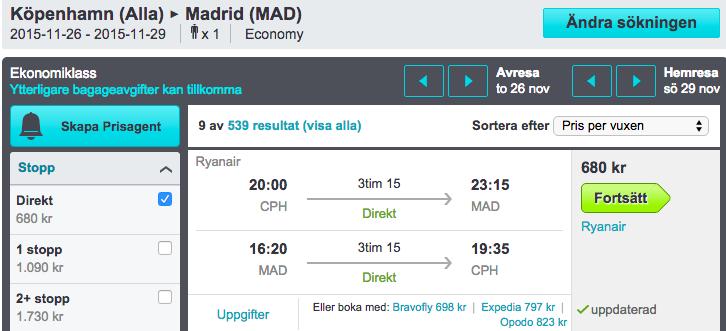 billiga flyfbiljetter madrid