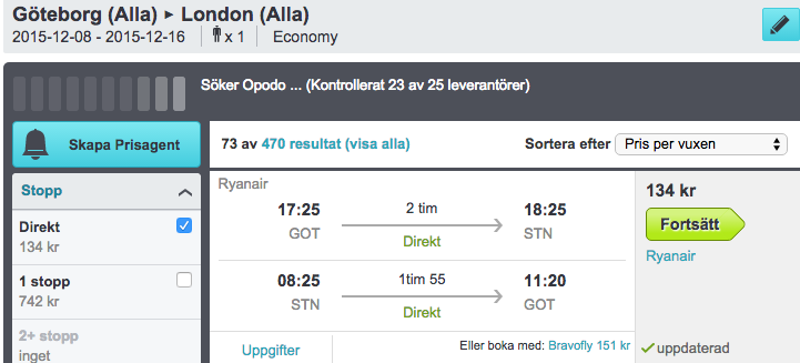 billiga flyg london